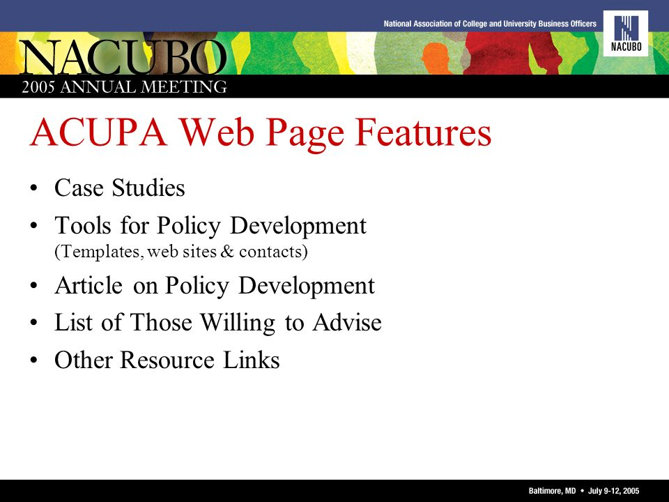 ACUPA Web Page Features