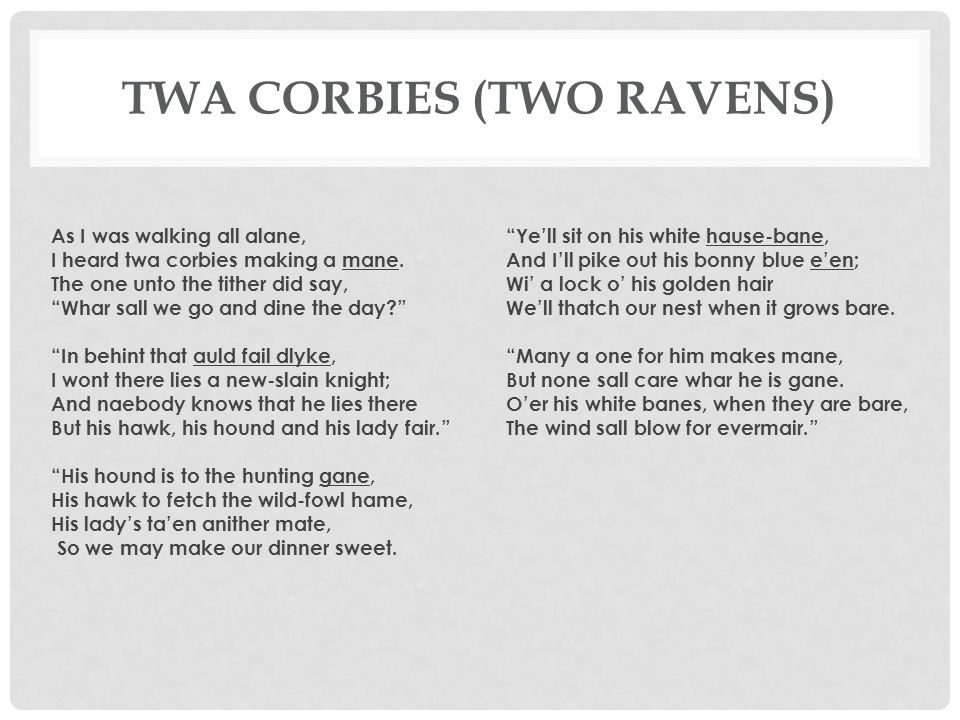 twa corbies poem