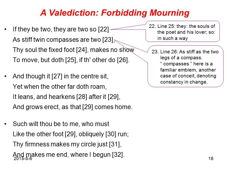 16 A Valediction Forbidding Mourning