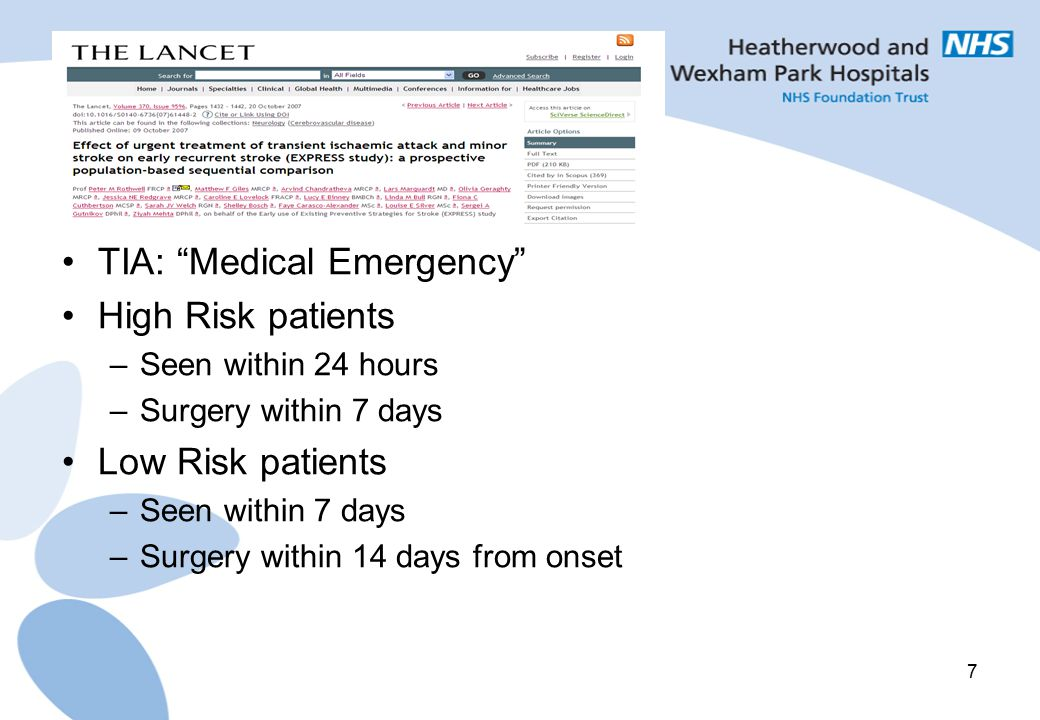 TIA: Medical Emergency High Risk patients