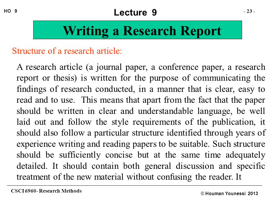 structure of research report writing