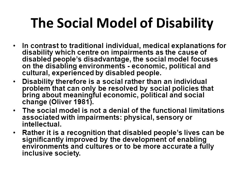 compare and contrast the medical and social models of disability