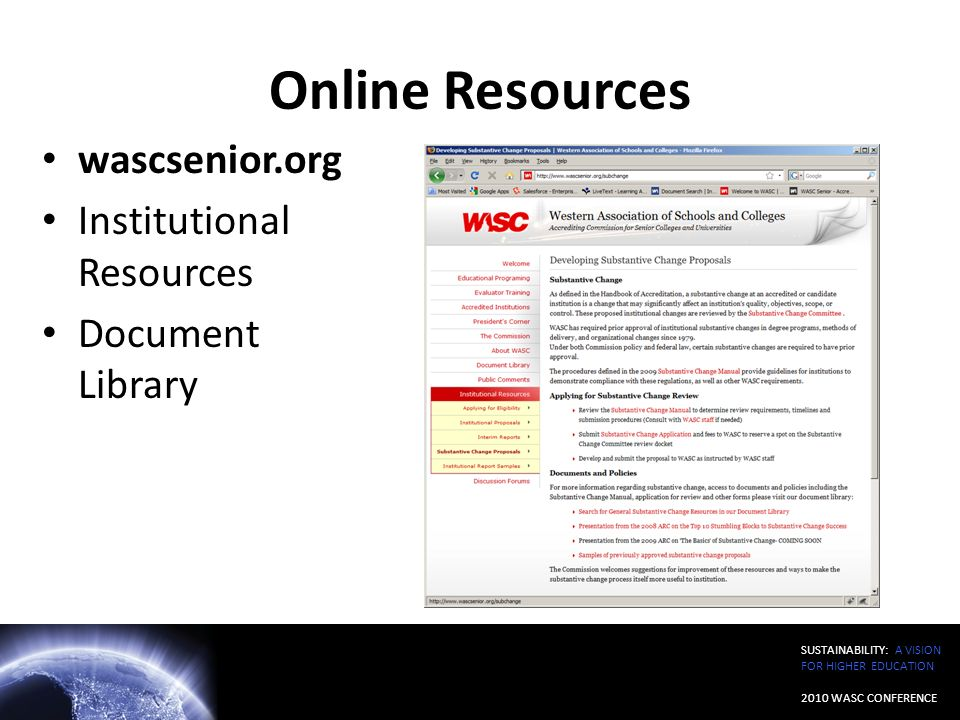Online Resources wascsenior.org Institutional Resources