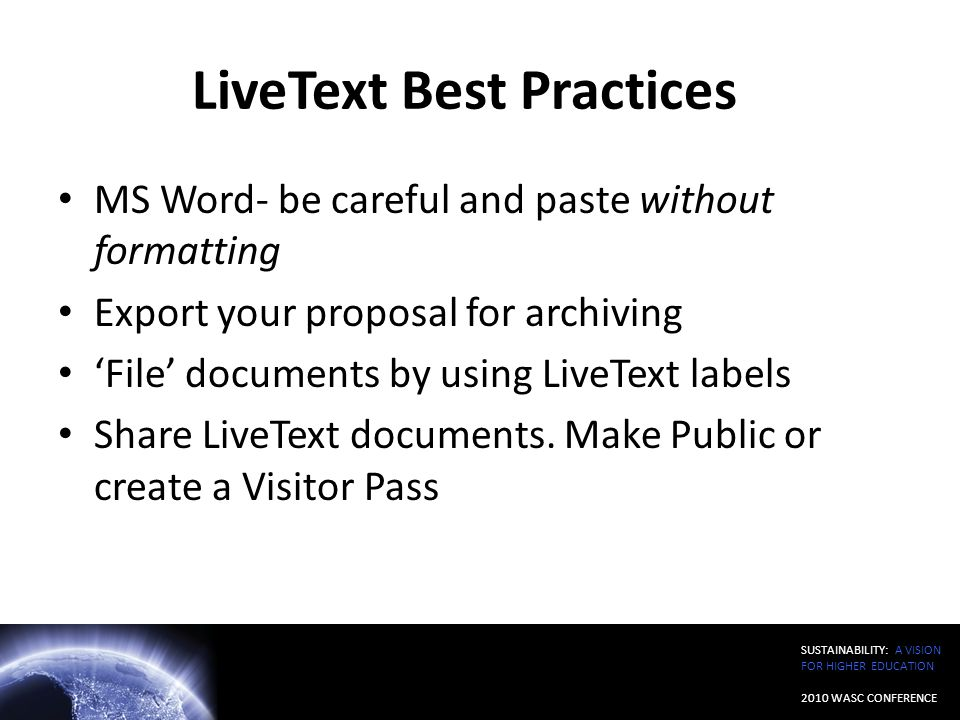 LiveText Best Practices
