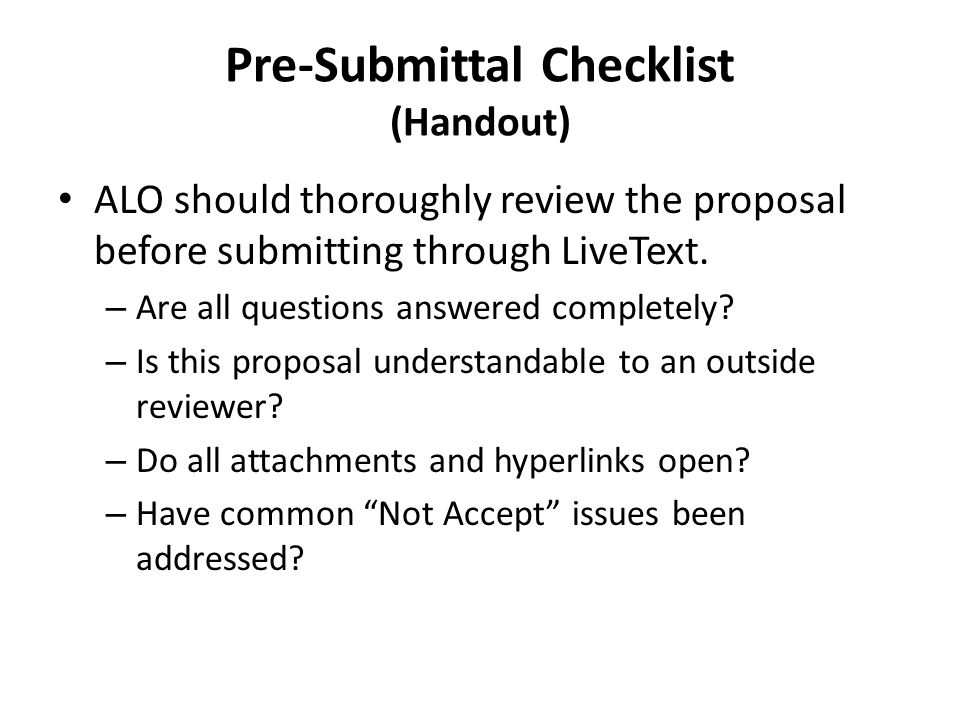 Pre-Submittal Checklist (Handout)