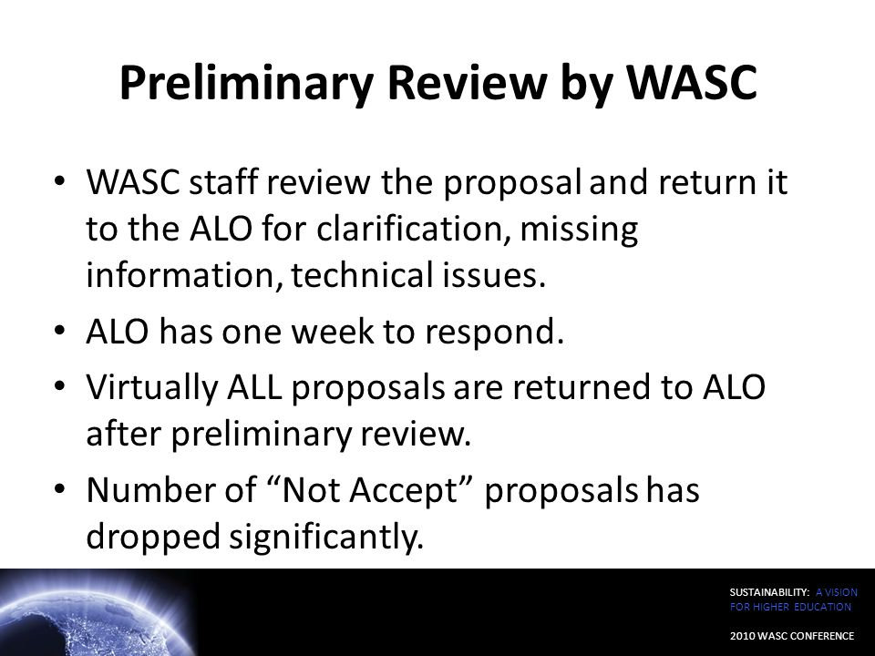 Preliminary Review by WASC