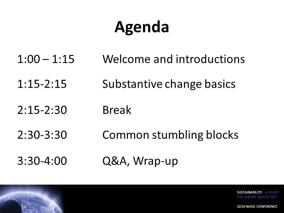 Agenda 1:00 – 1:15 Welcome and introductions