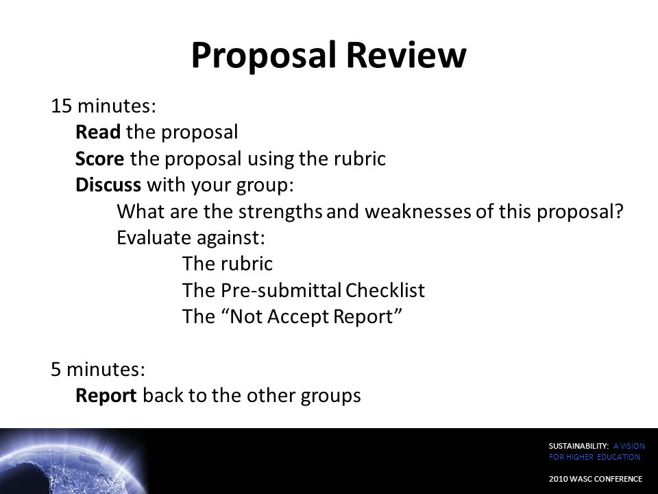 Proposal Review 15 minutes: Read the proposal