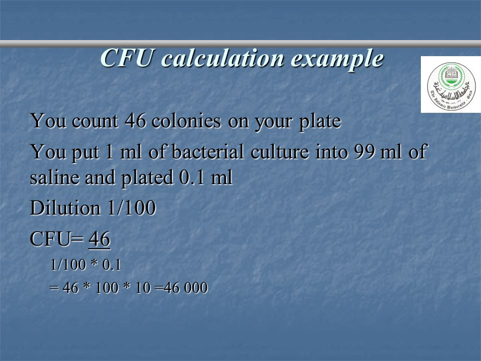 CFU calculation example