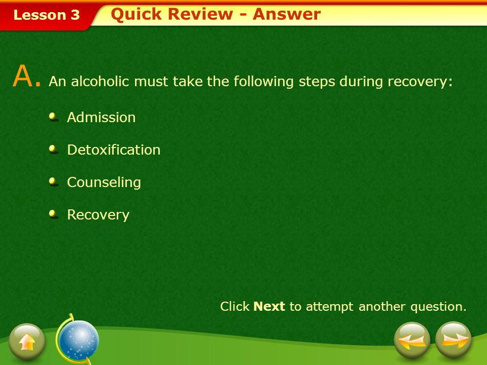 A. An alcoholic must take the following steps during recovery: