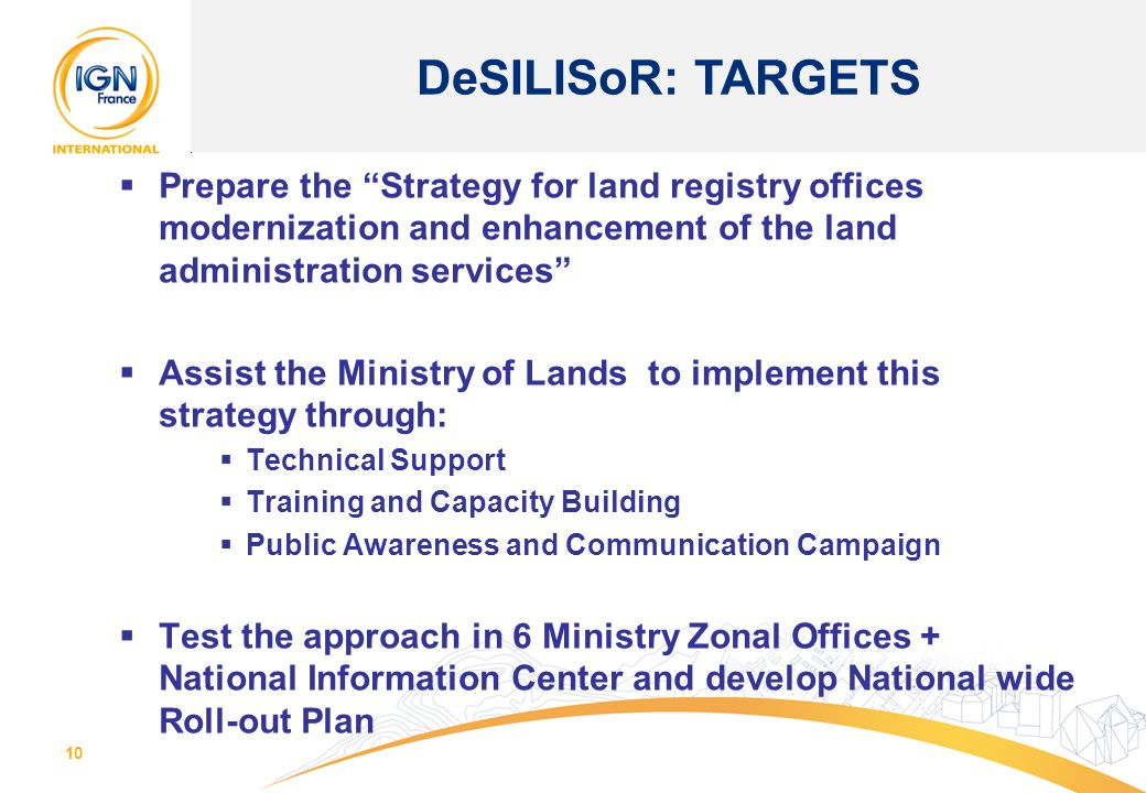 DeSILISoR: TARGETS Prepare the Strategy for land registry offices modernization and enhancement of the land administration services