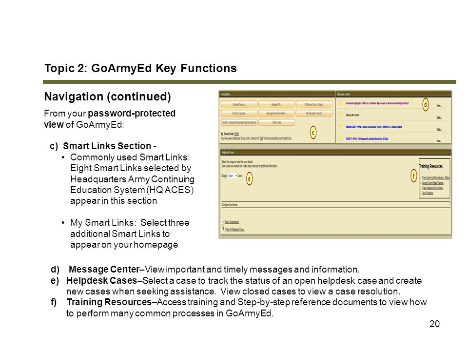 Topic 2: GoArmyEd Key Functions Navigation (continued) Nice Ideas