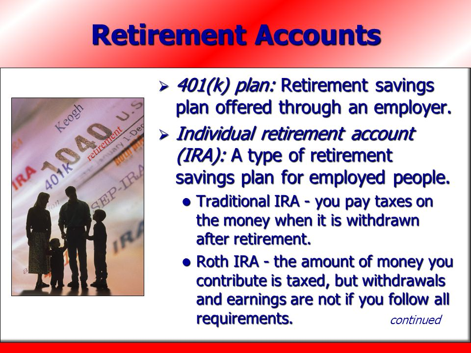 Retirement Accounts 401(k) plan: Retirement savings plan offered through an employer.
