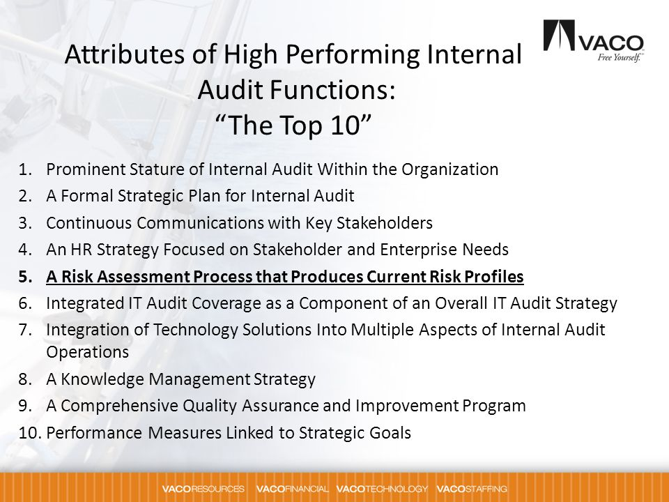 Attributes of High Performing Internal Audit Functions: The Top 10
