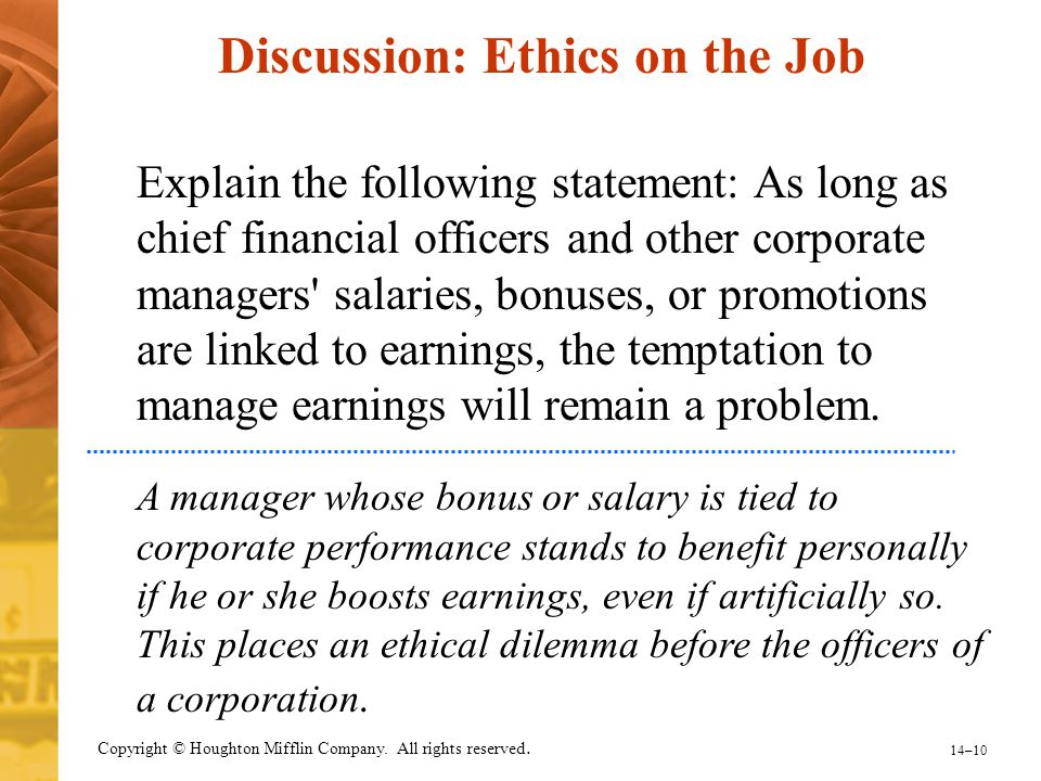 Discussion: Ethics on the Job