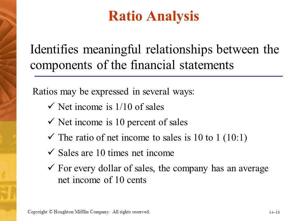 Ratio Analysis Identifies meaningful relationships between the components of the financial statements.