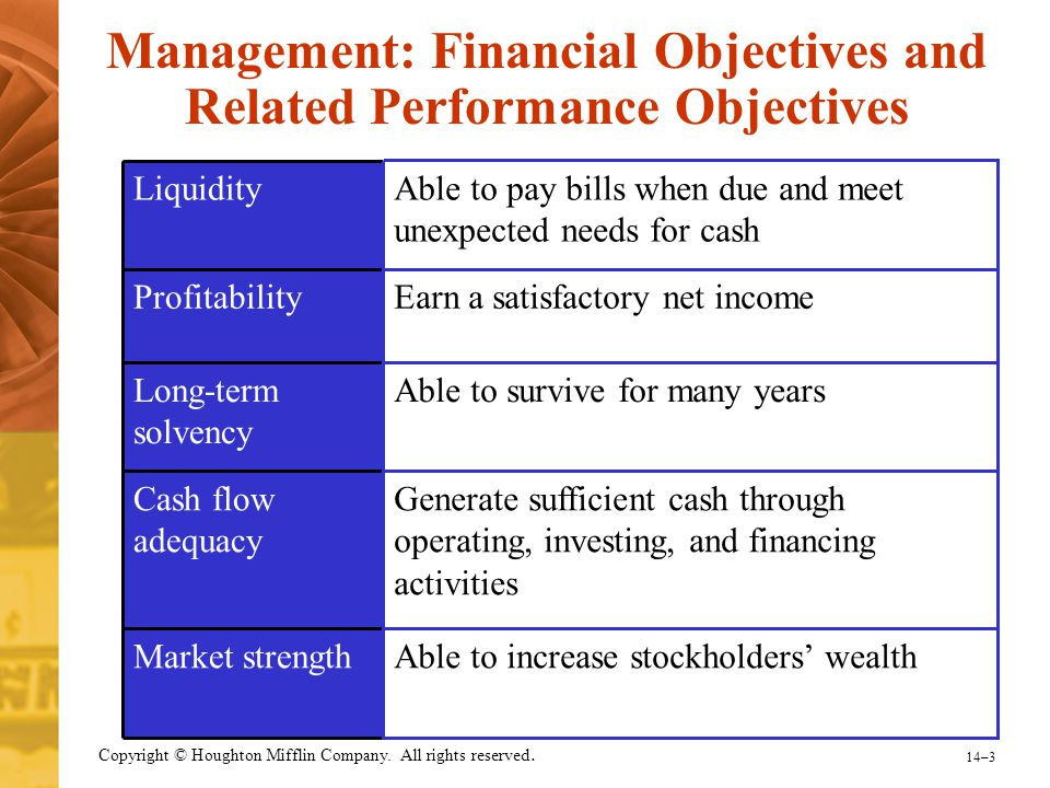 Management: Financial Objectives and Related Performance Objectives