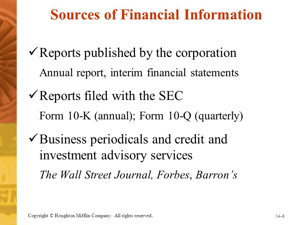 Sources of Financial Information