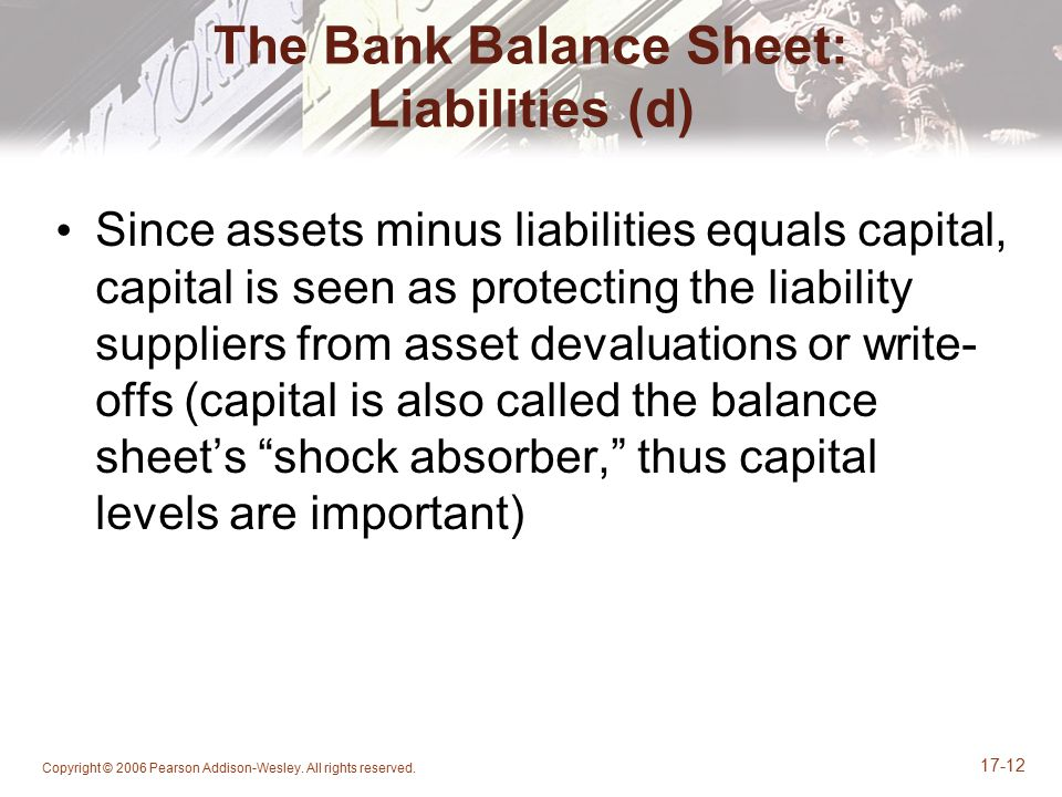 The Bank Balance Sheet: Liabilities (d)