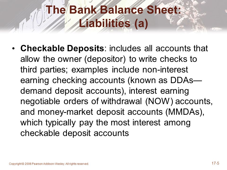 The Bank Balance Sheet: Liabilities (a)