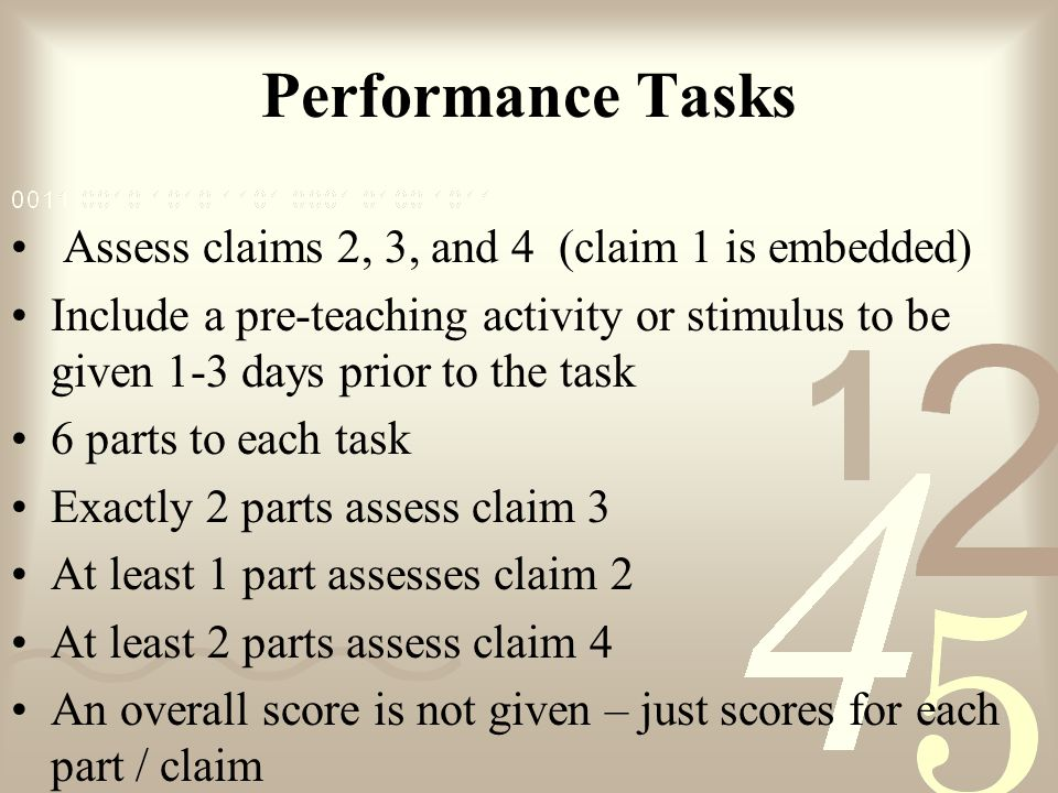 Performance Tasks Assess claims 2, 3, and 4 (claim 1 is embedded)