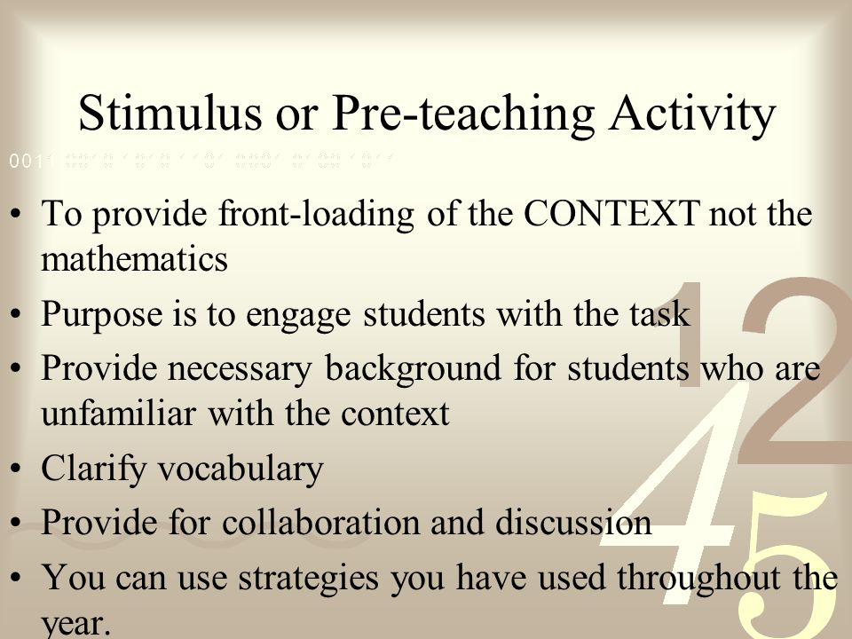 Stimulus or Pre-teaching Activity