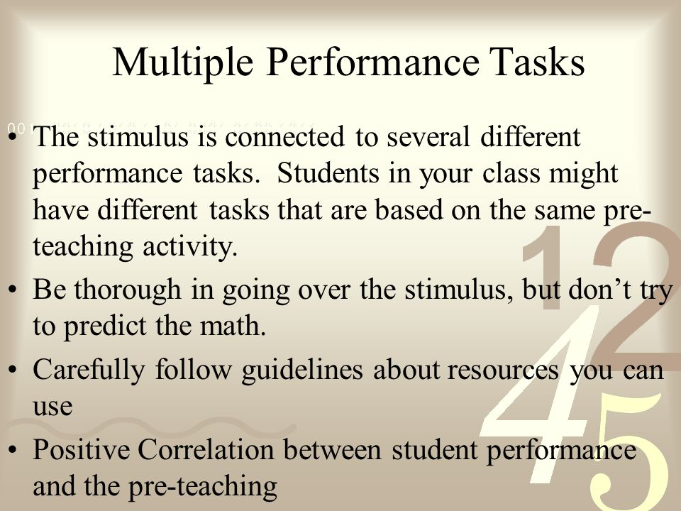 Multiple Performance Tasks