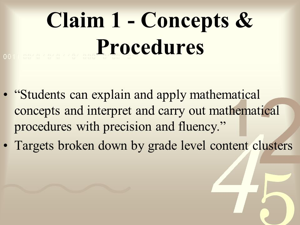 Claim 1 - Concepts & Procedures