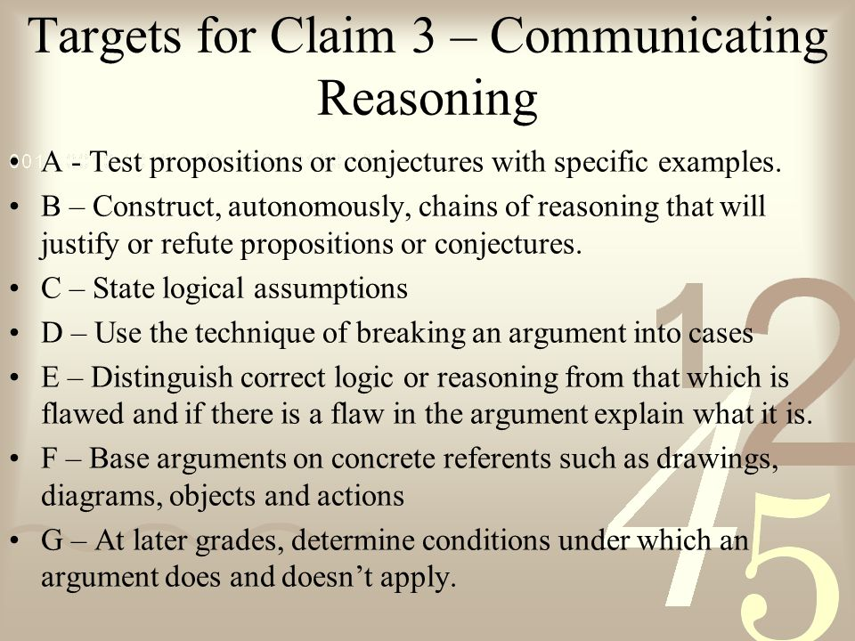 Targets for Claim 3 – Communicating Reasoning