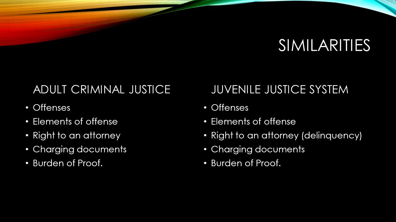 juvenile justice adult justice system Juvenile court judges may also waive to adult courts repeat offenders whom they edam untreatable by the juvenile authorities differences between juvenile and adult system • the primary purpose of juvenile procedures is protection and treatment with adults, the aim is to punish the guilty.