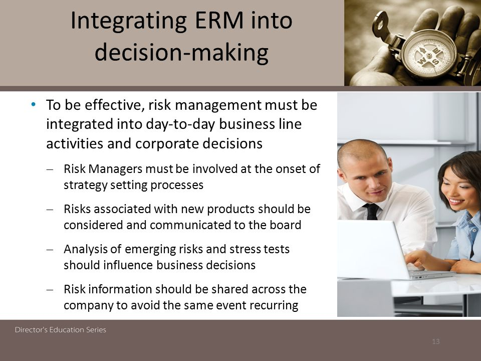 Integrating ERM into decision-making
