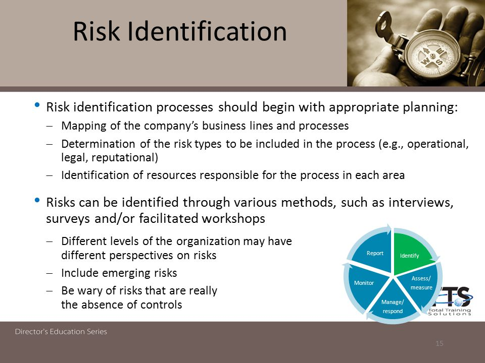 Risk Identification Risk identification processes should begin with appropriate planning: Mapping of the company's business lines and processes.