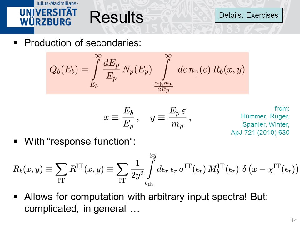 Results Production of secondaries: With response function :