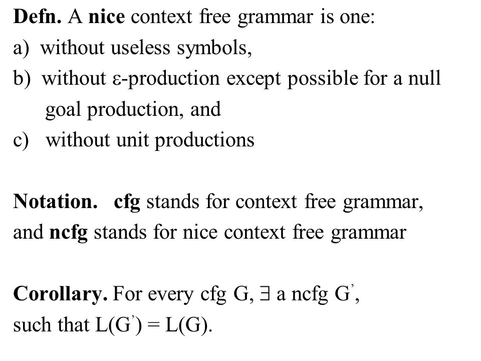 Simplifying Grammars Definition A Useless Symbol Of A Context Free