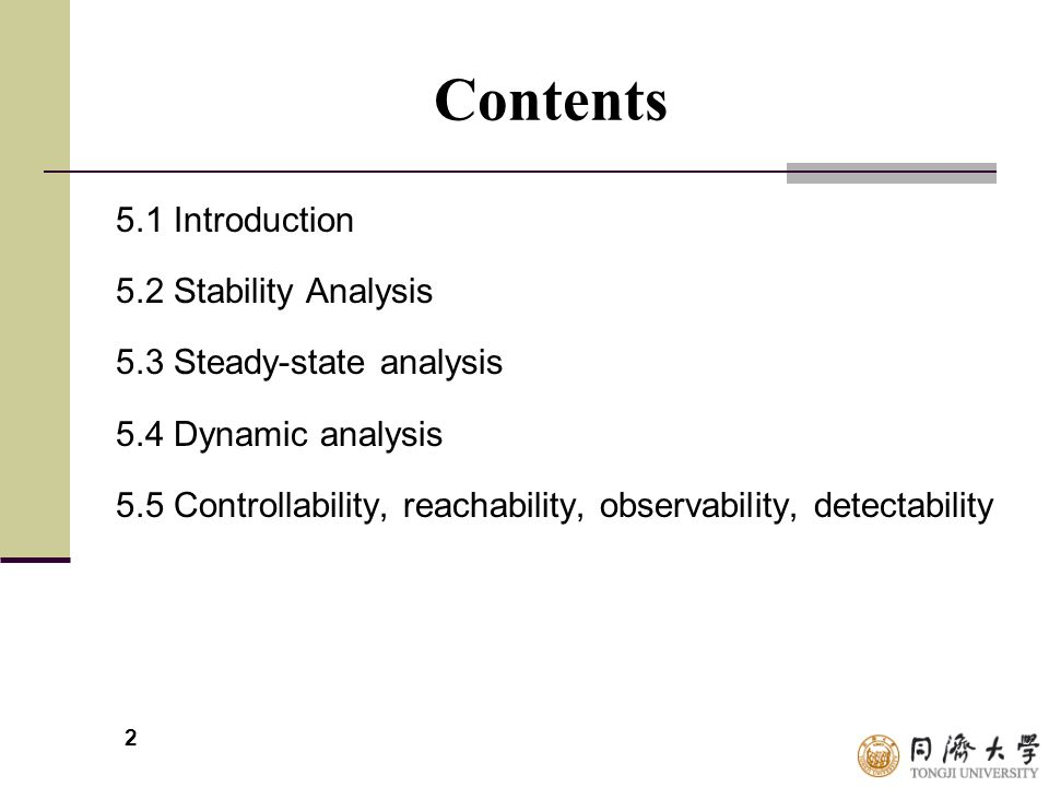 Contents 5.1 Introduction 5.2 Stability Analysis