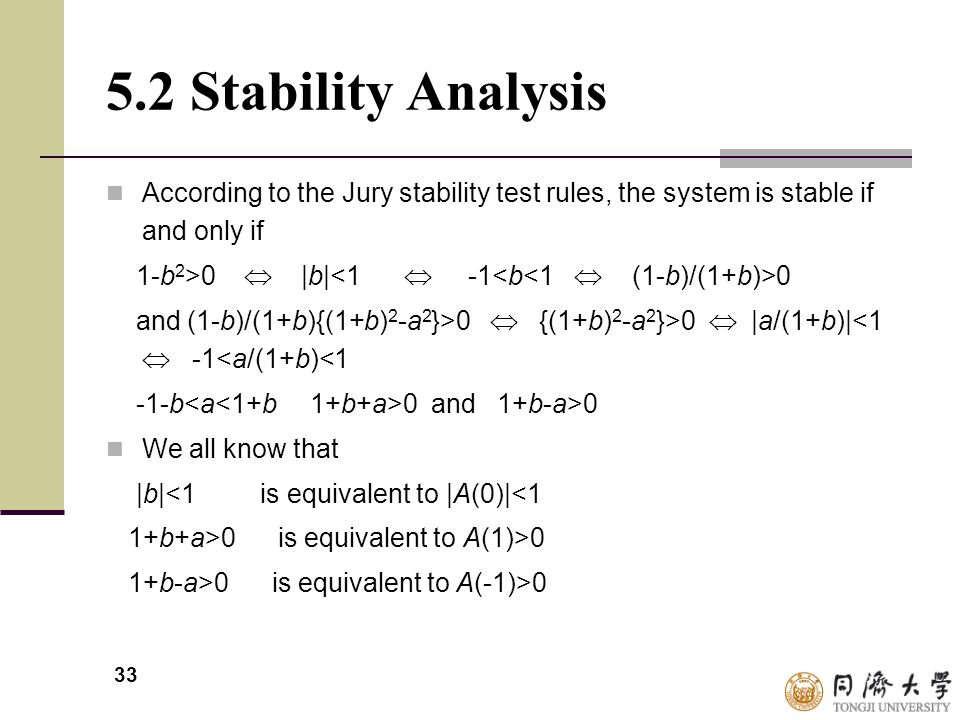 5.2 Stability Analysis According to the Jury stability test rules, the system is stable if and only if.