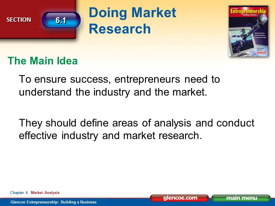 The Main Idea To ensure success, entrepreneurs need to understand the industry and the market.
