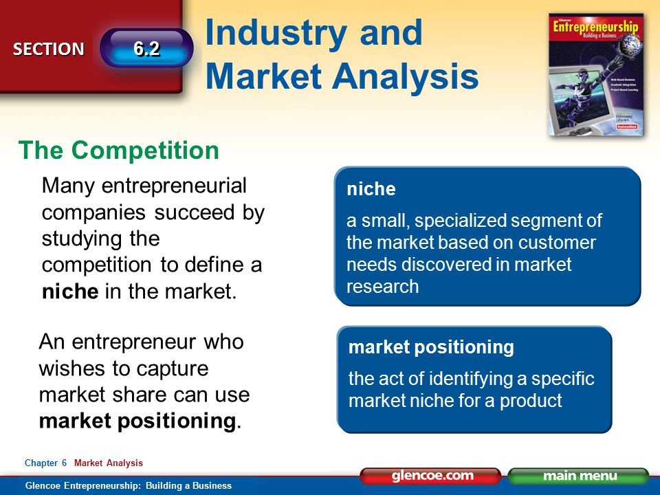 The Competition Many entrepreneurial companies succeed by studying the competition to define a niche in the market.