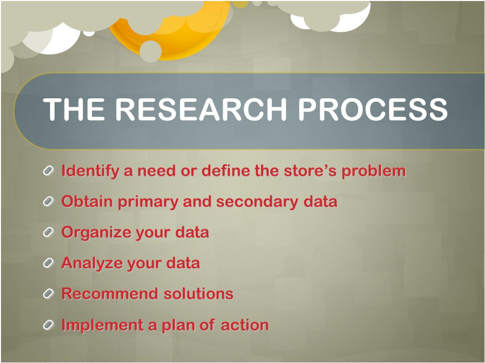 THE RESEARCH PROCESS Identify a need or define the store's problem