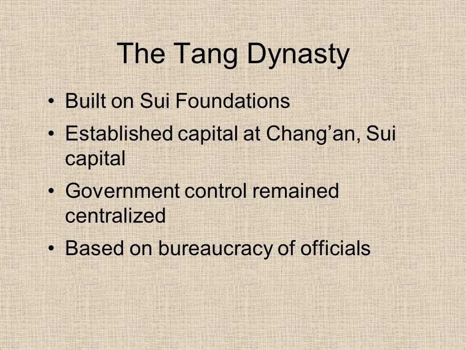 The Tang Dynasty Built on Sui Foundations