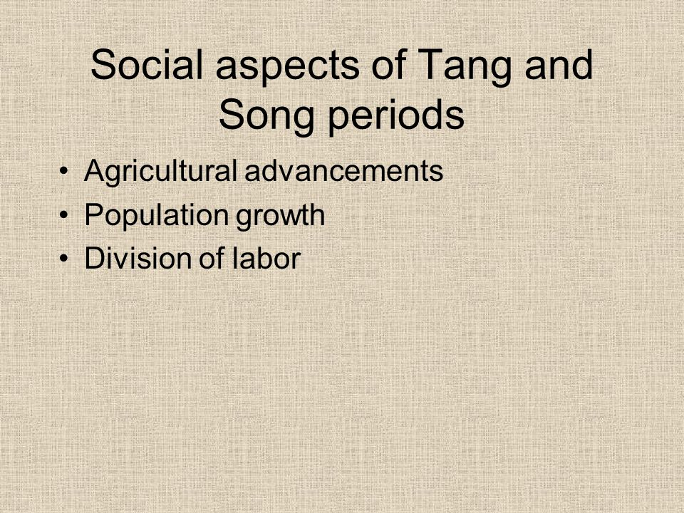 Social aspects of Tang and Song periods