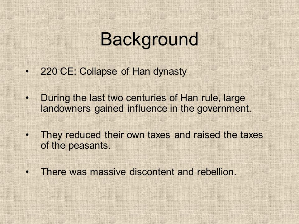 Background 220 CE: Collapse of Han dynasty