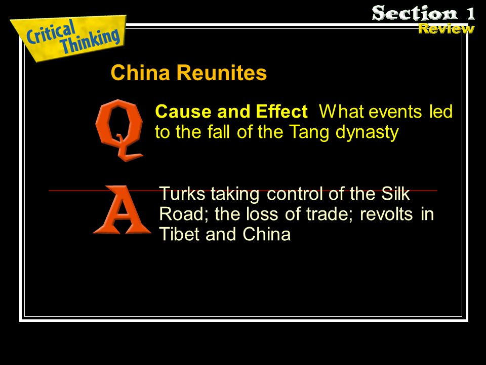 China Reunites Cause and Effect What events led to the fall of the Tang dynasty