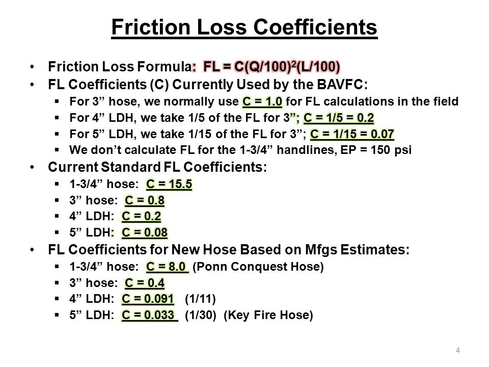 Driver Recert 2012 Topics Update on Fire Hose Friction Loss