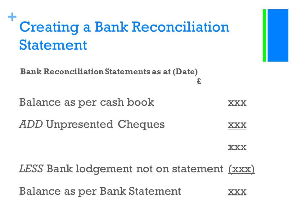 Creating a Bank Reconciliation Statement