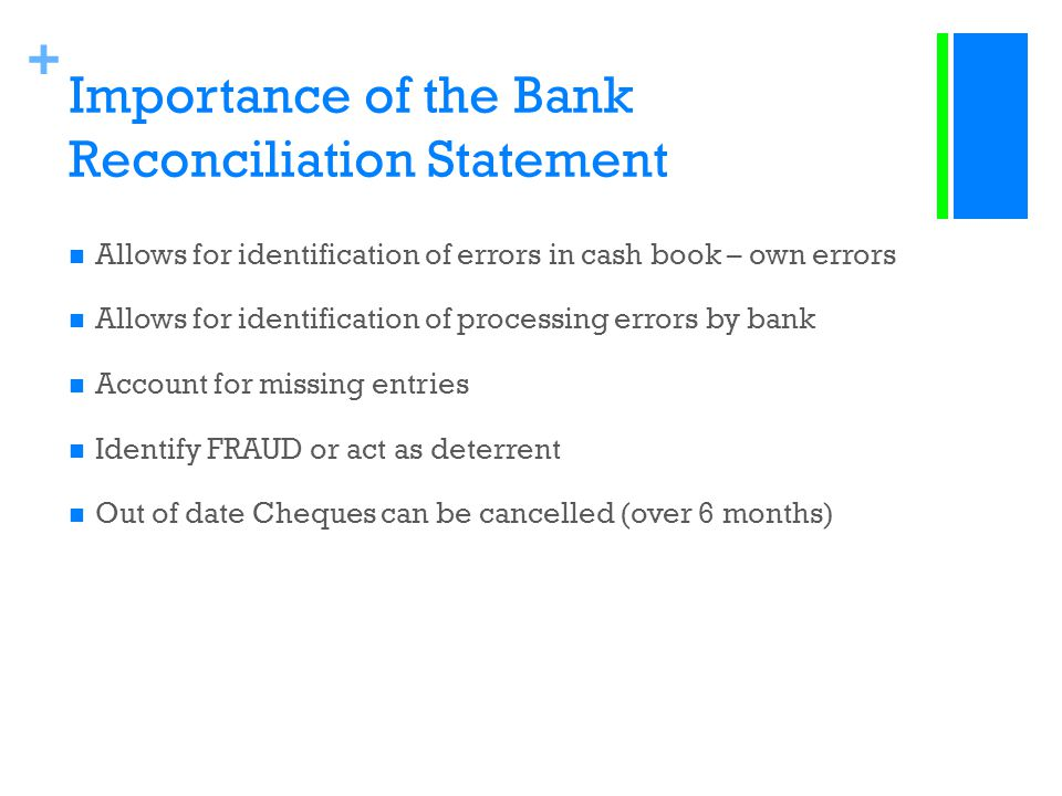Importance of the Bank Reconciliation Statement