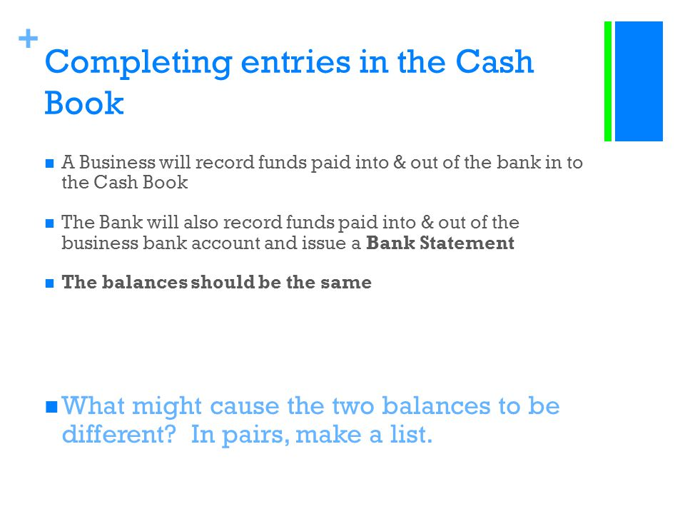 Completing entries in the Cash Book