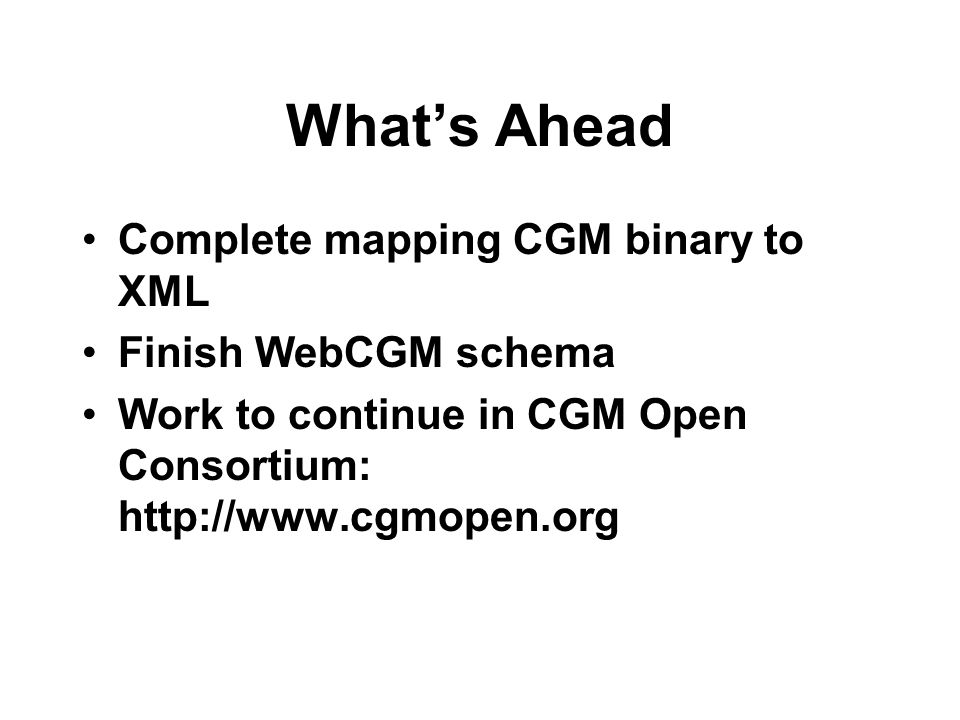 What's Ahead Complete mapping CGM binary to XML Finish WebCGM schema