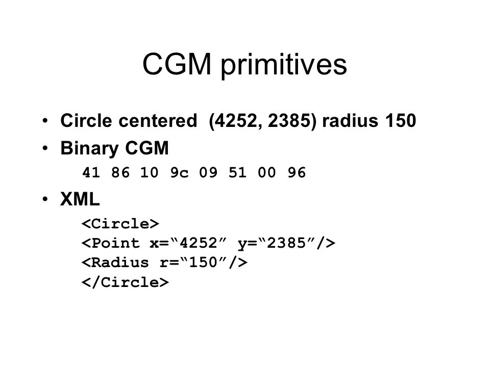 CGM primitives Circle centered (4252, 2385) radius 150 Binary CGM XML
