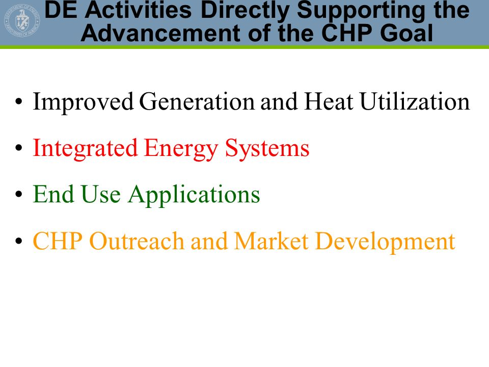DE Activities Directly Supporting the Advancement of the CHP Goal
